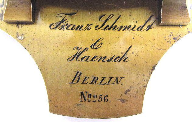 Franz Schmidt & Haensch, Berlin, No. 256. Middle model No. 4,. c. 1870. Signature