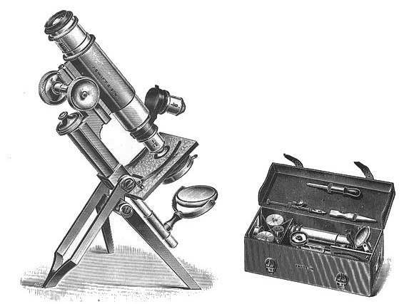 Swift & Son Portable Clinical and Field Microscope. This microscope was originally designed to meet the requirements of the Bacteriologist who needed an instrument of utmost portability. It is particularly serviceable to Microscopical and Natural History Societies, as its extreme portability, combined with great steadiness and efficiency for high power investigations, recommends it strongly. These instruments are in very general use in India and Africa amongst those working on Malaria, Sleeping Sickness, etc., and have been supplied in great numbers to the Army Veterinary Departments, the Crown Agents for the Colonies, the United States Government, etc.