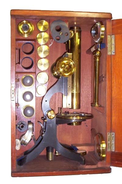 Swift  & Son 81 Tottenham Court Rd London W.C. Challenge Binocular Microscope. c.1881