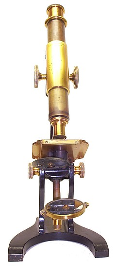 Boston Optical Works, Tolles, #159. Student microscope with rack and pinion focusing, c. 1870