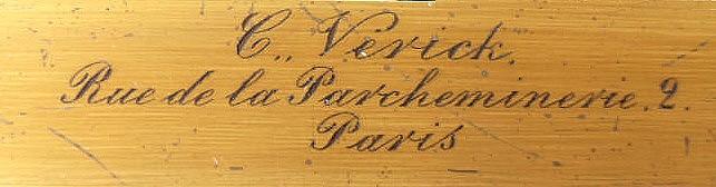 C. Verick, rue de la Parcheminerie, 2, Paris, No. 3036. Verick-Malassez Travelling or Pocket Microscope, c. 1880erick signature