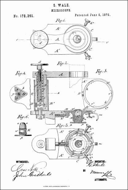 george wale microscope, patent june 6, 1876 patent image