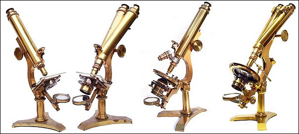 J. Zentmayer, Philadelphia. Four examples of the US Army Hospital Model microscope: Serial numbers from left to right monocular #975, binocular #723., both before 1876 ; monocular #1867, binocular #3773, both after 1876.