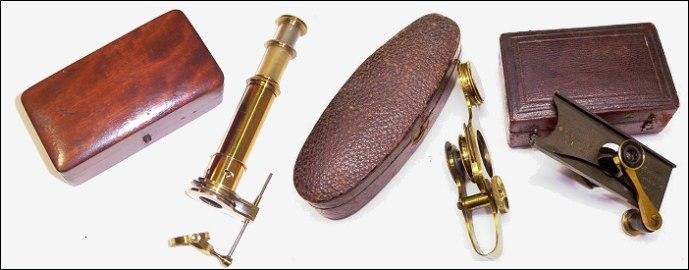 Pocket microscopes. From left to right: Brown-Swift, c. 1880; Ross field hand microscope, c. 1870; Pillischer's Lenticular, c. 1850.