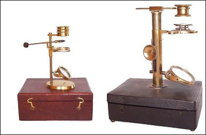 Left: botanical microscope Dollond London c.1830; Right: an Ellis aquatic microscope c.1775