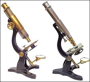 Two examples of the R.B. Tolles Student Microscope. Left: Boston Optical Works, Tolles, #159. Right: Tolles, Boston #290.