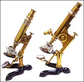 Two versions of the Bausch&Lomb Optical. Co. Physicians model microscope. Pat. Oct. 3, 1876;  right: No. 2188, c. 1883; left: No. 1078, c. 1879