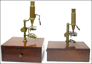 Both signed: Made for McAllister & Co., Philadelphia. Imported case-mounted French microscopes, c.1844. Attributed to the Parisian optician Buron.