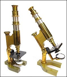 Two version of the Bausch & Lomb Harvard Model microscope. Left: No. 5598, non-inclinable. Right: No. 3729, inclinable. c. 1888 and 1885, respectively.