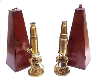 Two Culpeper style microscopes. left: unsigned; right: Adams, London.  c. 1790-1800